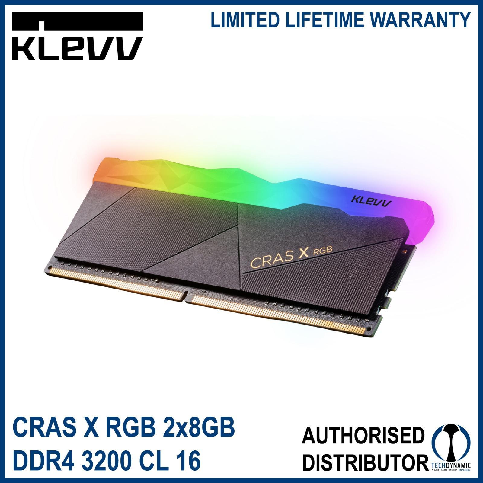 KLEVV CRAS X RGB: 2x8GB (16GB) DDR4 3200 CL16 OC XMP UDIMM (Desktop)