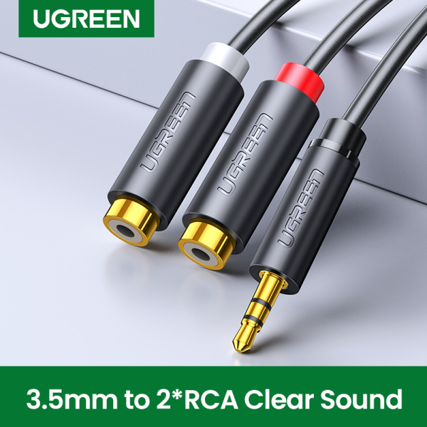 UGREEN Original 0.2 Meter 3.5mm Male to 2RCA Female Jack Stereo AUX Audio Cable Y Adapter for iPhone MP3 Tablet Computer Speaker 3.5 RCA Jack Cable-Intl Singapore