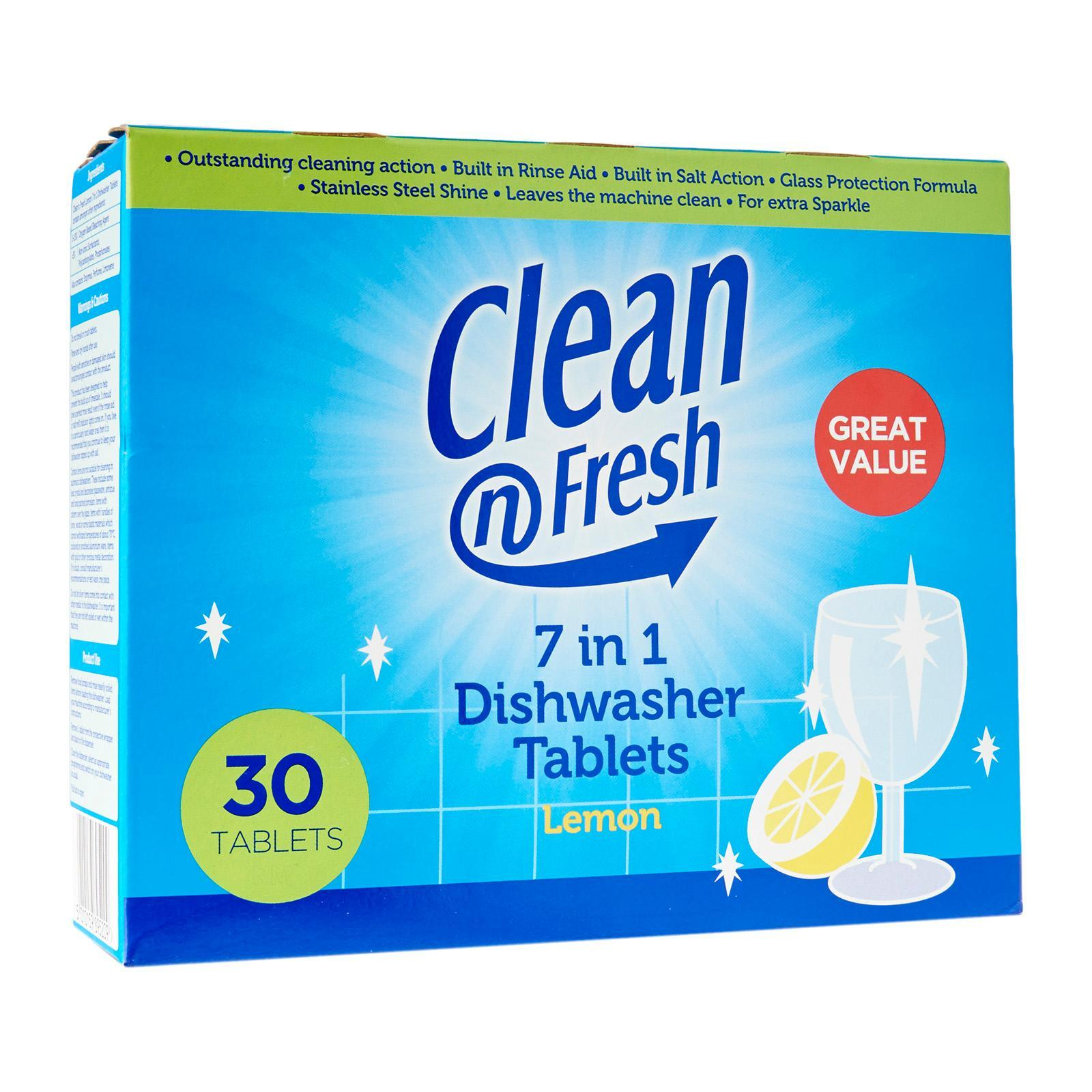 Clean 'N Fresh 7 In 1 Lemon Dishwasher Tablets - 30 tabs