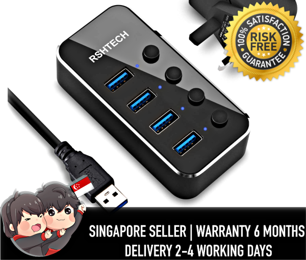 RSHTECH RSH-516 USB Hub 3.0 Powered Aluminum 4 Port USB Splitter Portable Data Hub Individual On/Off Switch Included 5V/2A AC DC Power Adapter(4-Ports)