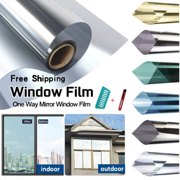 Window Film For House【Free Shipping】30,50,60,70,80,90,100,152cm One Way Mirror Daytime Privacy Window Film ,Heat Control Anti UV Window Tint for Home and Office