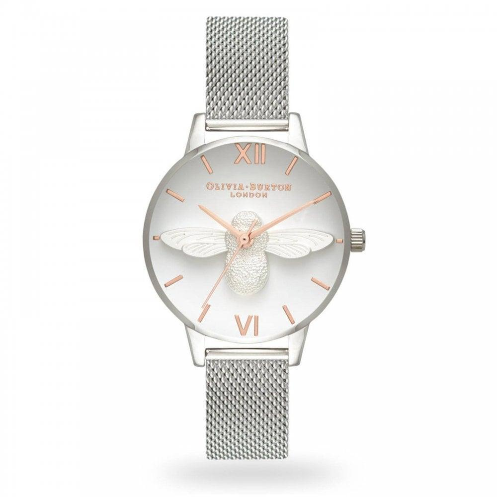Olivia Burton 3d Bee White Dial 30mm Quartz Rose Gold Hands Womens Silver Stainless Steel Buckle Strap Watch Ob16am146 By Watch Centre.