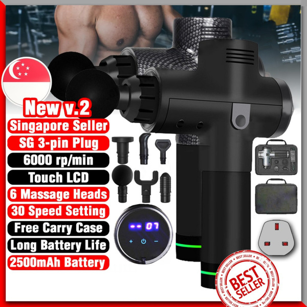 Buy Singapore plug Therapy Massage Gun Percussion Deep Muscle Body High Vibrating Recovery Touch Screen Cordless Quick Rechargeable Muscle Message Fascial Gun Deep Muscle Massage Gun, 20/30 speed 6 heads (special price) Singapore