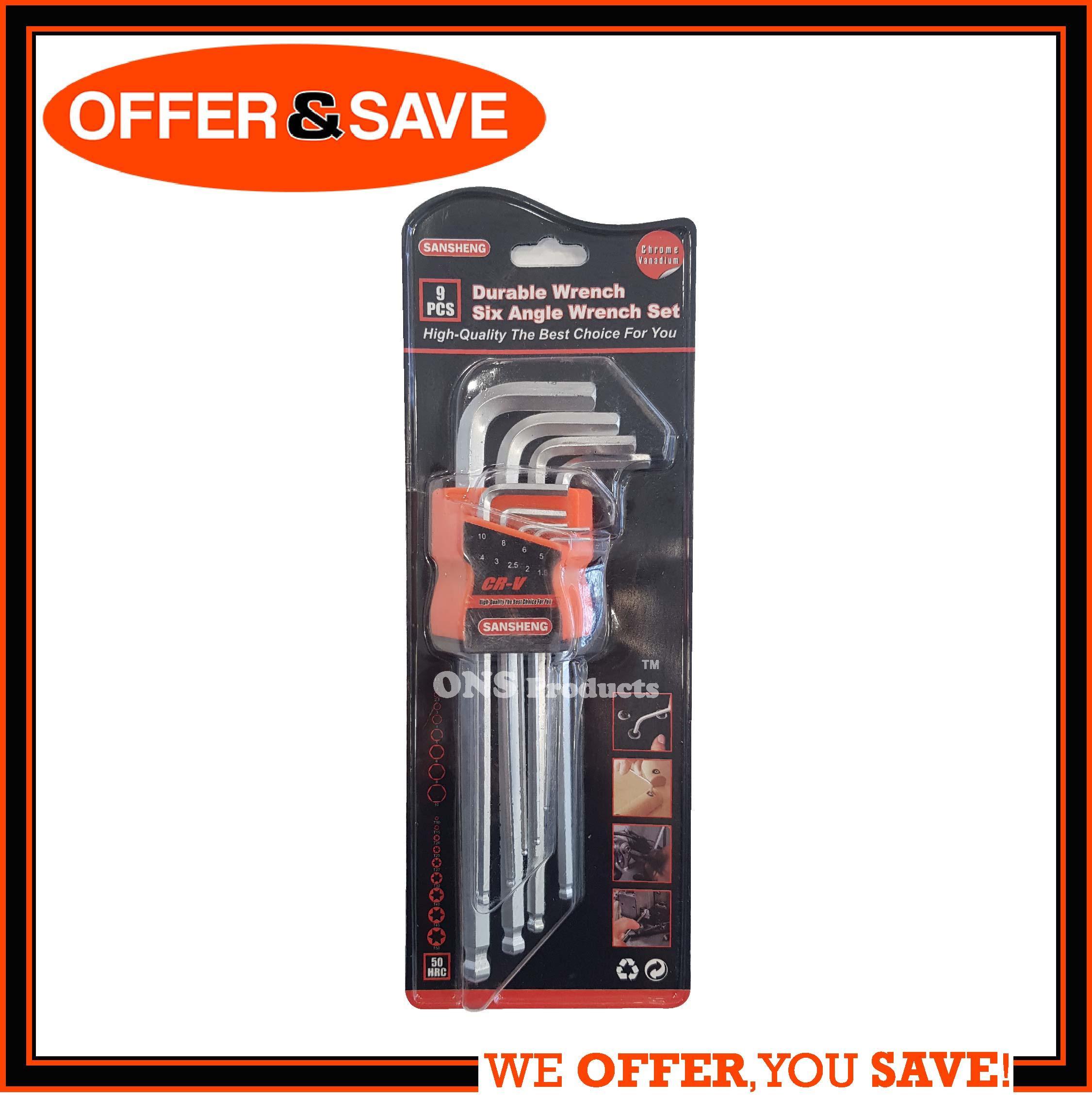 ONS 9pcs Cr-V Hex Key Set / Ball Point Allen Key / Wrench Set / Long Arm- SDY94084