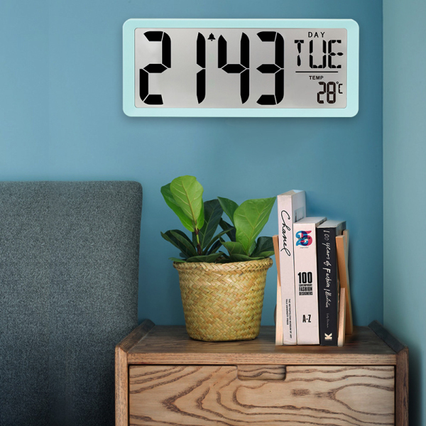 TXL Jumbo Digital Large LCD Screen Display Alarm Clock ,Huge Wall Clock with Date/Time/Temperature Display,Battery Powered,Silver - intl