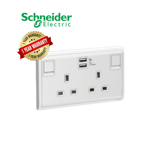 Scneider Electric Pieno- 13A 2Gang Switched Socket 2.1A USB Charger, E82T25USB