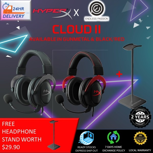 HyperX Cloud II Headset - Gunmetal [Free Headphone Stand + 24 hours delivery]