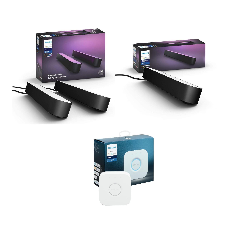 Philips Hue Play Bundle (Philips Hue Play 2 Pack Base kit + Philips Hue Play Light Extension + Philips Hue Bridge)