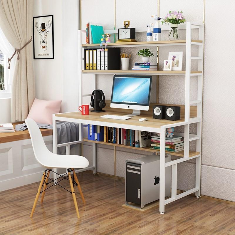 Aimero Shop Economic Simple Computer Desk Desktop Home Office Desk with Bookshelf Combined Desk Simplicity Double