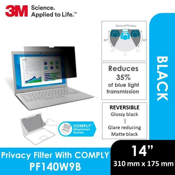 3M Privacy Filter for 14 Inch Widescreen Laptop with COMPLY Attachment System PF140W9B