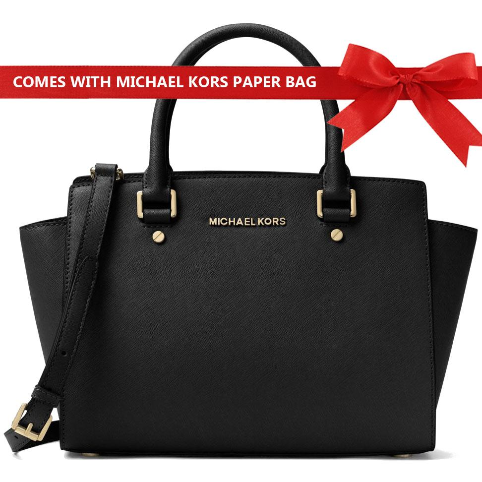 dd4bf48fcffcad Michael Kors Crossbody Bag Selma Medium Top Zip Saffiano Leather Satchel  Handbag Black # 30S3GLMS2L