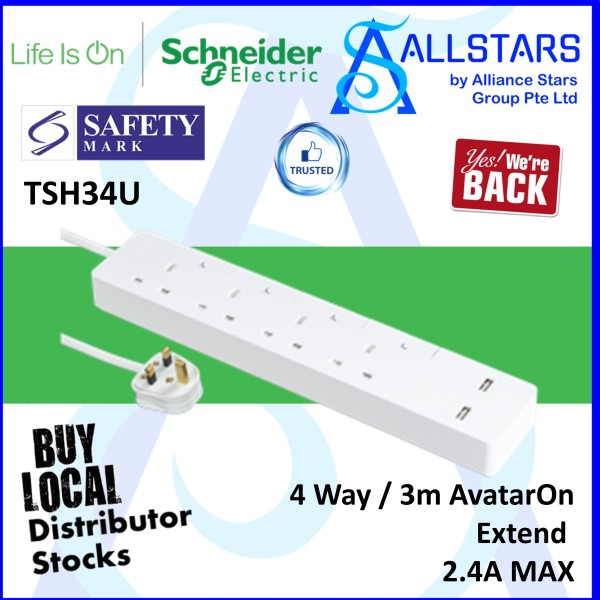 (ALLSTARS : We are Back Promo) Schneider Electric TSH34U 4Gang / 4Way / 3m AvatarOn Extend / Power Extension / Trailing Socket / USB Charge Port x2 2.4A Max (Warranty 1 year with Convergent)