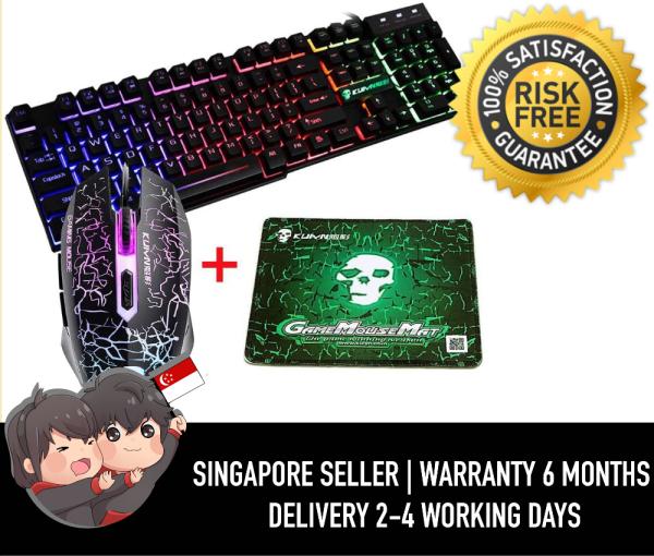 KUIYN T6 Rainbow Backlit Ergonomic Usb Gaming Keyboard + 2400DPI 6 Buttons Optical Rainbow LED Usb Gaming Mouse + FREE Gaming Mouse Pads 220*180*5mm Standard Size (Luminous Key, Black)