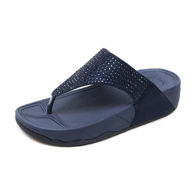 b5d0aa152b 2019 New Style Slipper Female Summer Outer Wear Versatile Slanted Heel  Thick Bottomed Flip-flops Pregnant Women Soft Bottom Anti-slip Flip-flop ...
