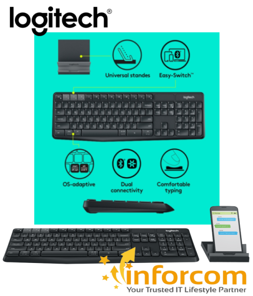 Logitech K375s Multi Device Wireless Keyboard and Stand Combo K375 Bluetooth Connection Singapore