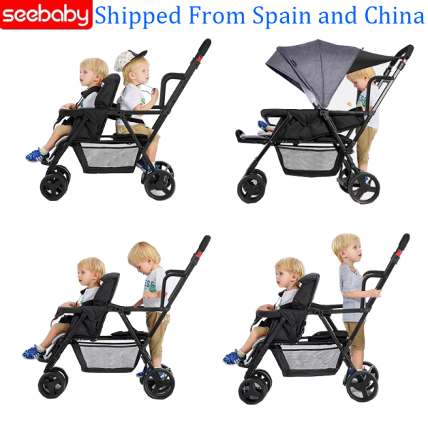 Seebaby Fold Twins Baby Stroller Double Pram Two Seat Can Stand Sit Fit Newborns Baby and Children Carriage Pushchair Singapore