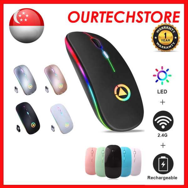 [ SG Stock ] Wireless Mouse Bluetooth Mouse USB 2.4GHz Wireless Optical Rechargeable Wireless Mice Silent Mouse