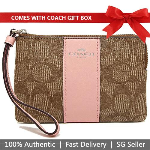 Coach Corner Zip Wristlet In Signature Coated Canvas With Leather Stripe Khaki / Blush Pink / Silver # F58035