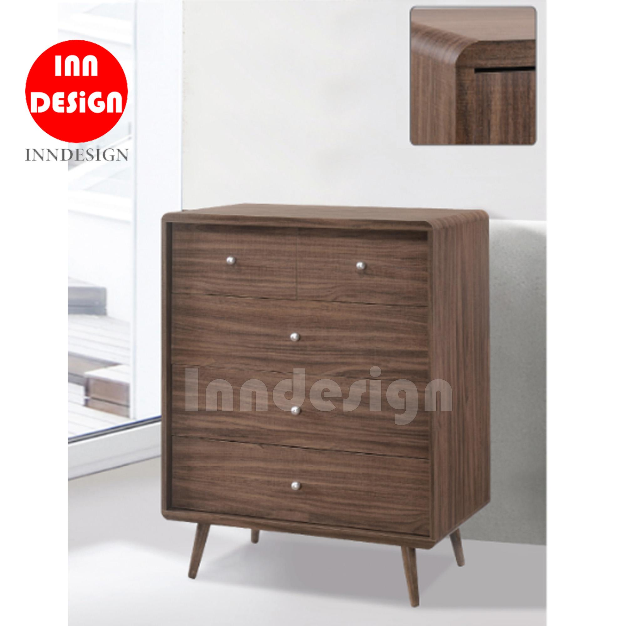 Kealy Chest of 5 Drawers with Solid Wood Leg