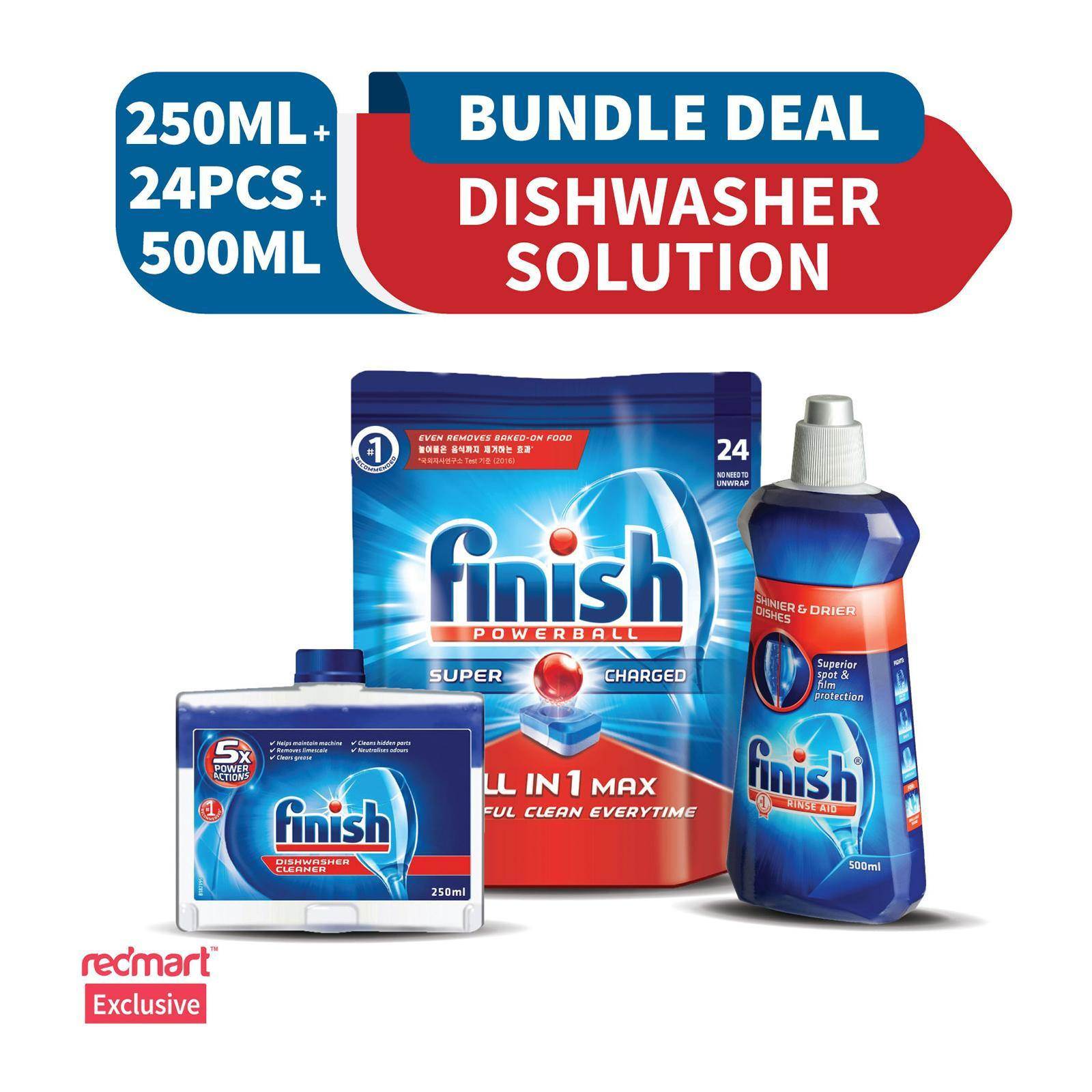 Finish All In One Max Super Charged PowerBall Dishwasher Tablets 24 Tablets And Finish Machine Dishwasher Cleaner 250 ML And Finish Diamond Shine Rinse Aid 500 ML