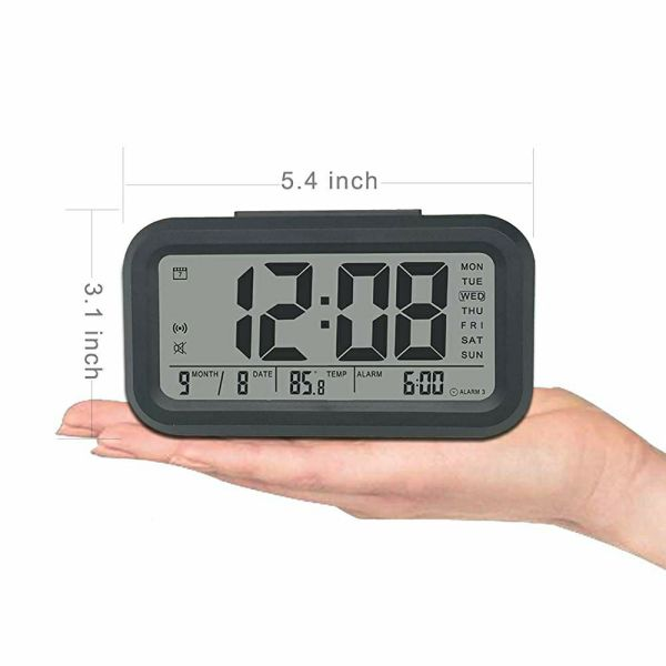 Smart Digital Alarm Clock Gen 5 Upgraded Features LED Backlight Table Clock Digital 3 Alarm Settings with 2 Colors + 7 Ring Tones