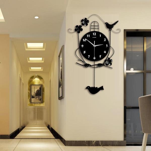 European Style Pendulum Clock Creative Swing Hanging Bird Wall Clock Fashion Home Decor Modern Design Mute Wall Clock