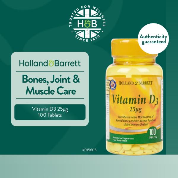 Buy Holland & Barrett Vitamin D3 100 Tablets 25µg Singapore