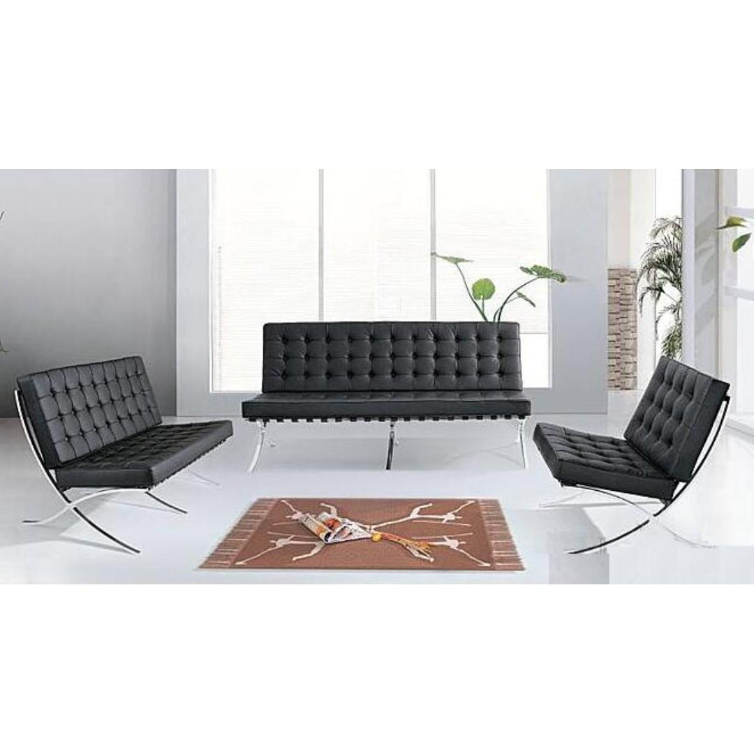 Barcelona Sofa Modern Lounge Leather-Two seater:L150xW80xH81cm