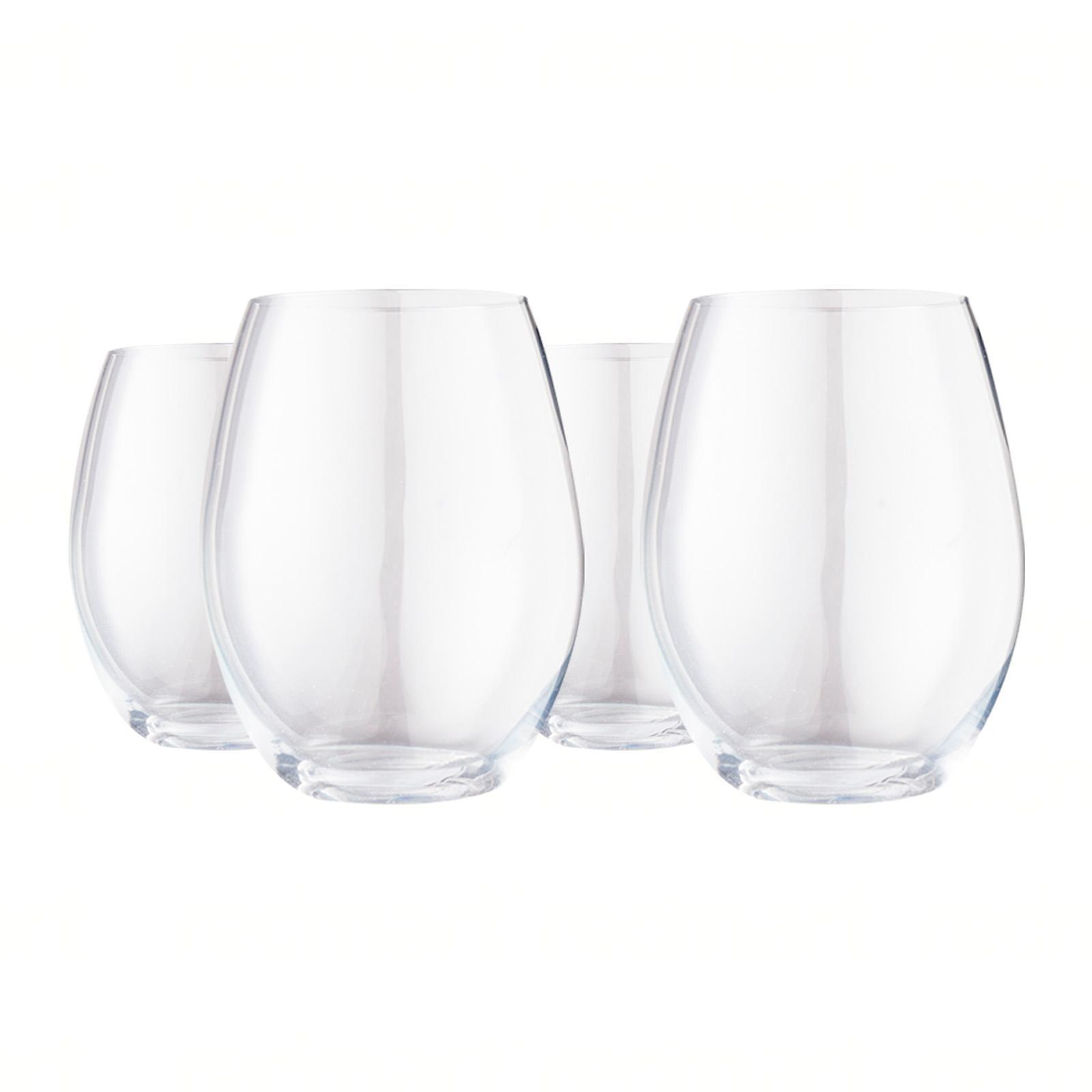 Plumm Crystal Wine Glasses - Stemless Red+ (4 Glasses)
