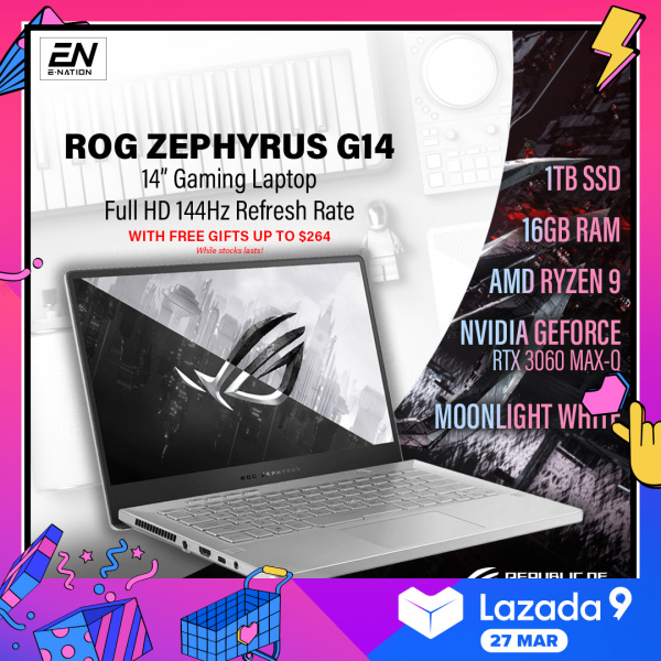 [PRE ORDER] ASUS - ROG Zephyrus G14 14 144Hz  | G15 165Hz Gaming Laptop - AMD Ryzen 9 - 16GB Memory - NVIDIA GeForce RTX 3060 Max-Q - 1TB SSD - Moonlight White | GA401 (2021) | Delivery [ETA: 15/04/2021]