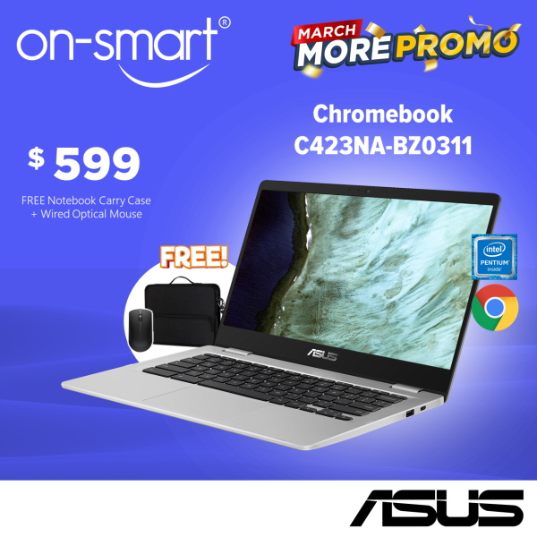 【Express Delivery】ASUS Chromebook C423NA-BZ0311 | Intel Quad-Core Pentium N4200 Processor | 4GB RAM | 64GB eMMC | Intel HD Graphics 500 | 1 Year On-Site Service | Student /  Casual Laptop