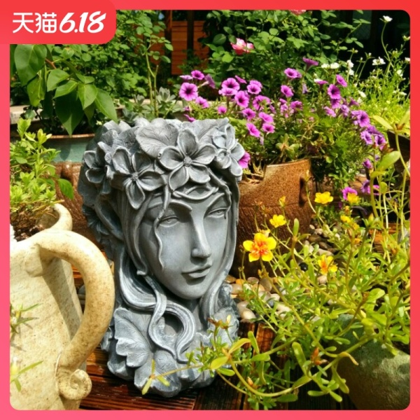 Goddess Head Flowerpot Large Size Succulents Large Diameter Creative Northern Europe Venus Statue Garden Decoration Asian Creative Luxury Art Works