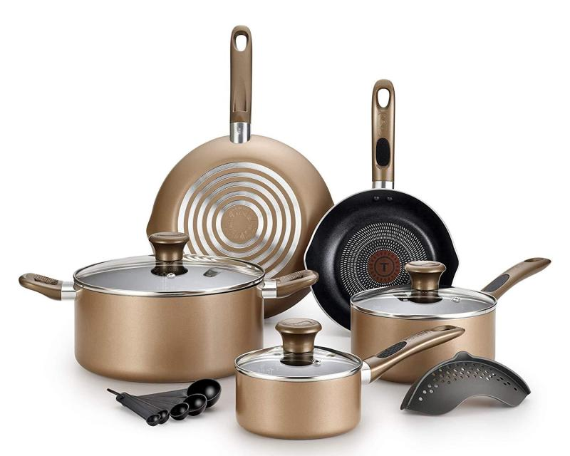 T-fal Excite ProGlide Nonstick Thermo-Spot Heat Indicator Dishwasher Oven Safe Cookware Set, 14pc Bronze (Will arrive in 7-15 working days)(SG Seller) Singapore