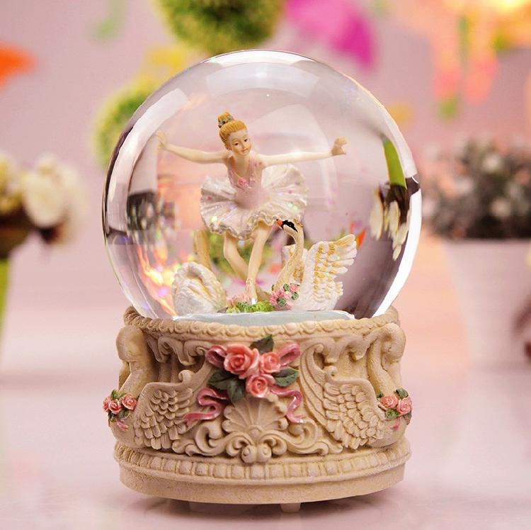 Ballet Dancing Girls Rotating Crystal Ball MBOX Music Box for a Girlfriend Birthday Gift Childrens Day Ceremony