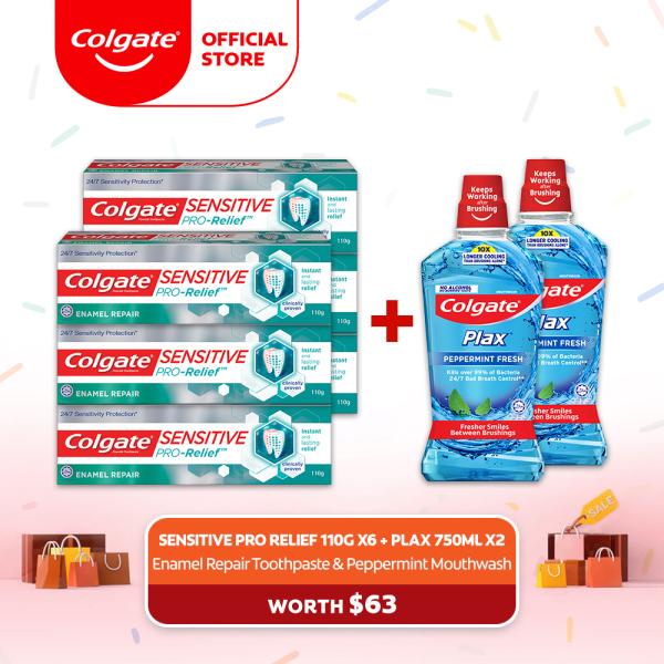 Buy [4.4 Just 4 U] Colgate Sensitive Pro Relief Enamel Repair Toothpaste 110g [Bundle of 6] + 2 Colgate Plax Peppermint 750ml Mouthwash (1539356-6 + FOC 1525375-2 ) Singapore