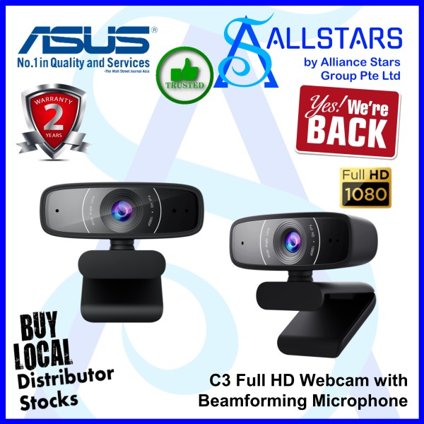 (ALLSTARS : We Are Back Promo) ASUS Webcam C3 Full HD Webcam with Beamforming Microphone (Warranty 2years with BanLeong)
