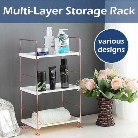 Carbon Steel Bathroom Kitchen Storage Rack / Microwave Organizer / Rose Gold / Silver / Table Desk