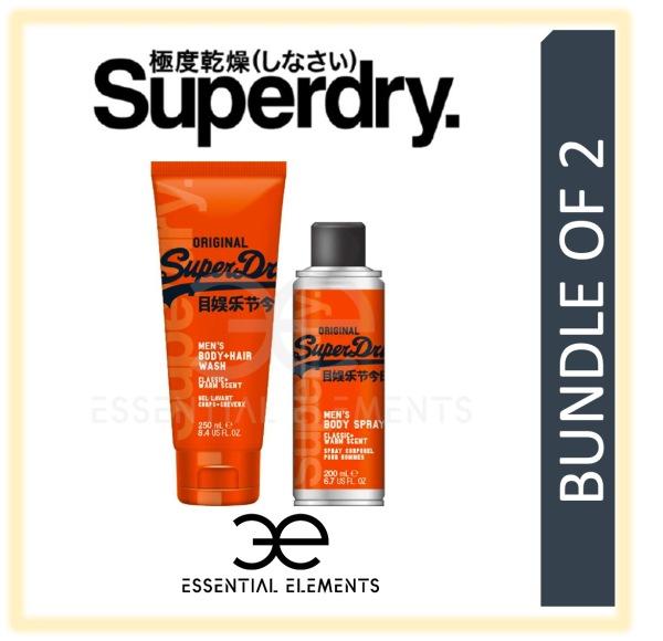 Buy SUPERDRY [BUNDLE OF 2] ORIGINAL MEN BODY & HAIR WASH 250ML + BODY SPRAY 200ML | SPORT ORIGINAL GROOMING ATHLETIC BATH SHOWER DEODORANT SHAMPOO Singapore