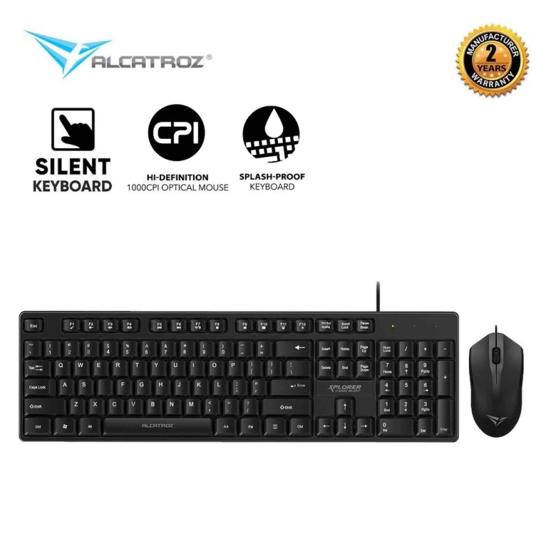 Alcatroz Xplorer C3300 Silent Click USB Wired Keyboard & Mouse Combo Singapore