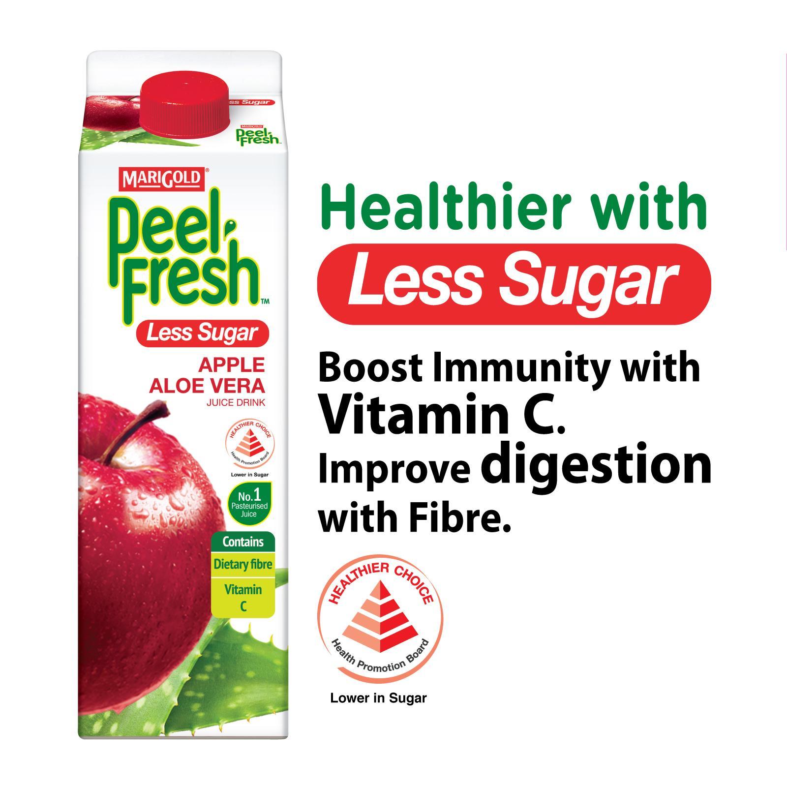 MARIGOLD Peel Fresh Less Sugar Juice Drink - Apple Aloe Vera 1L