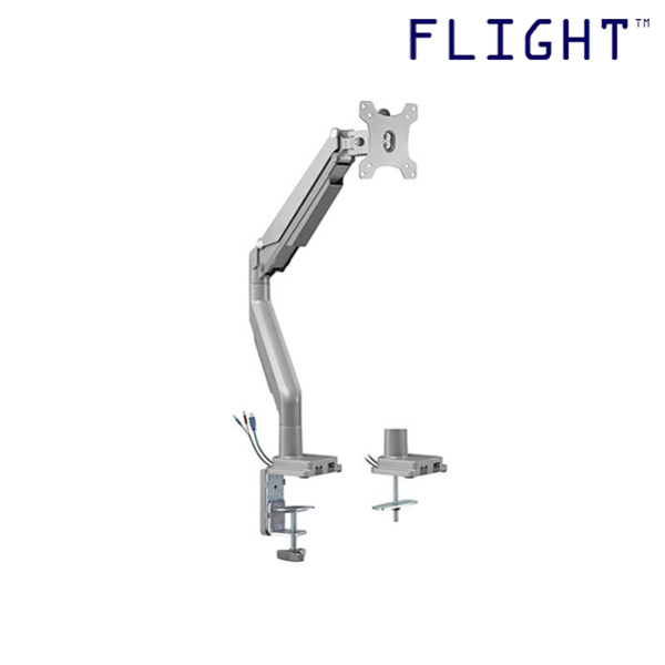 [HOT SELLING] LCD Single Monitor Arm, Silver, Grommet and Clamp, International Vesa Compatible, 1-9kg, Cable Management Included, 180 Degree Monitor Rotation - FAML34-202U - Flight