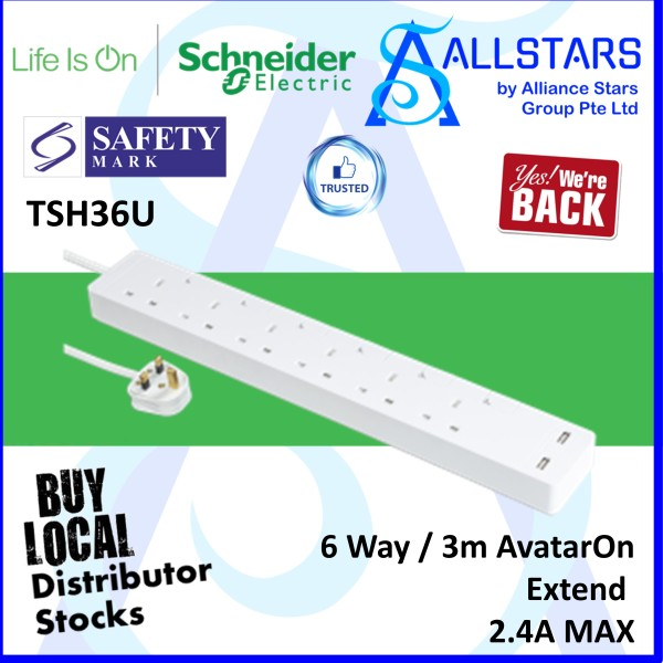 (ALLSTARS : We are Back Promo) Schneider Electric TSH36U 6Gang / 6Way / 3m AvatarOn Extend / Power Extension / Trailing Socket / USB Charge Port x2 2.4A Max (Warranty 1 year with Convergent)