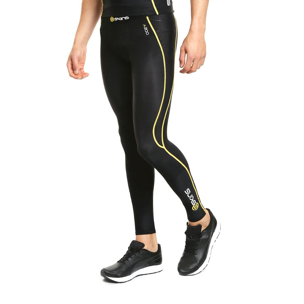 Skins A200 Mens Long Tights (black/yellow) B60052001 By Sports-Zone.
