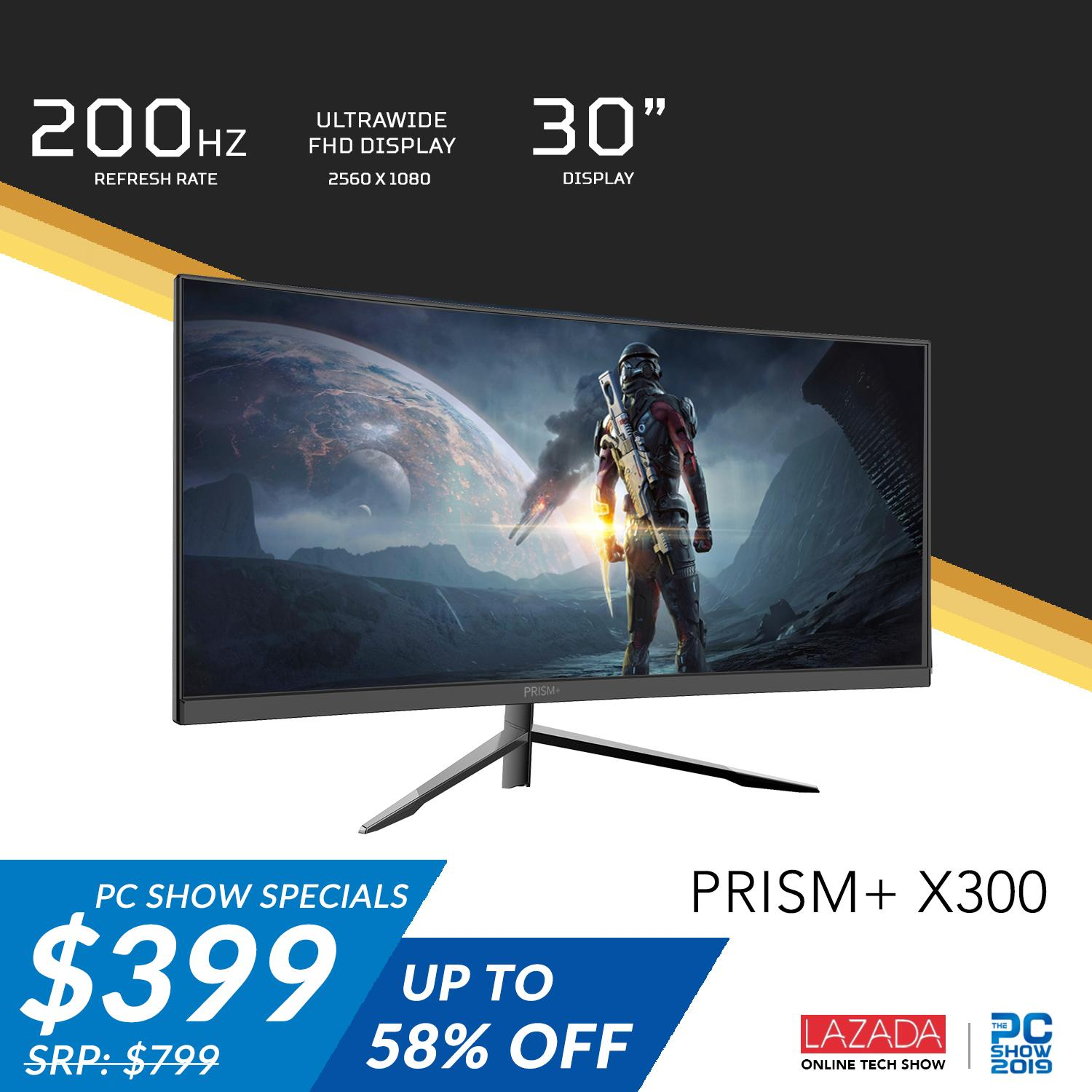 (Pre-Order) PRISM+ X300 30 200Hz Curved Ultrawide 21:9 WFHD [2560 x 1080] Freesync Gaming Monitor (Ships by Mid June 2019)