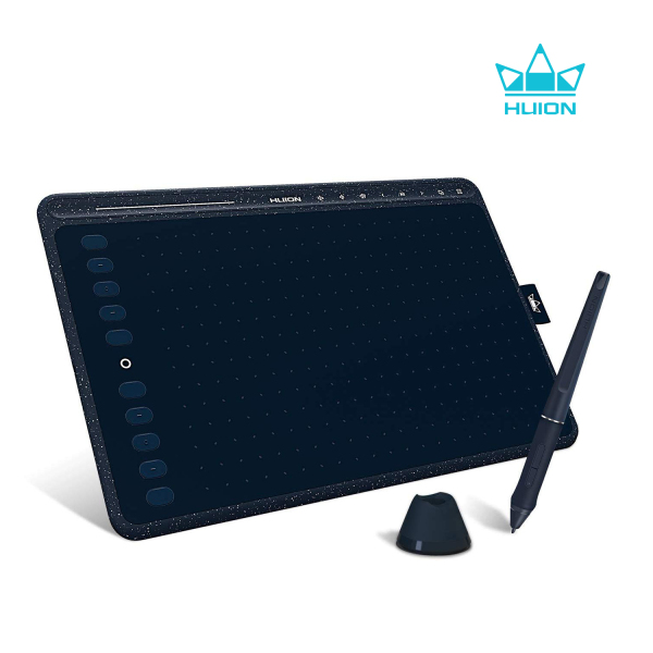Huion HS611 Graphics Drawing Tablet Android Supported Pen Tablet Tilt Function Battery-Free Stylus 8192 Pen Pressure with 8 Multimedia Keys 10 Express Keys and Touch Strip(Starry Blue)