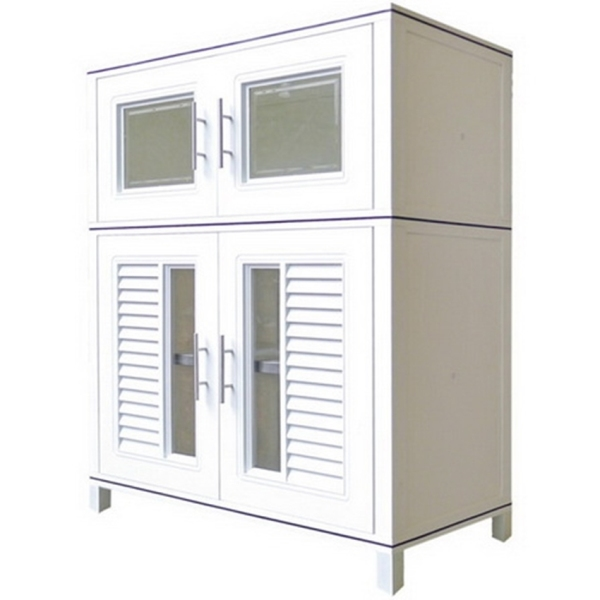 KING CUPBOARD 125 Multi-Purpose Waterproof High Quality HIP Plastic Kitchen Stand Alone Storage Cabinet with Nano Coating (W88.5 x D45 x H115cm)