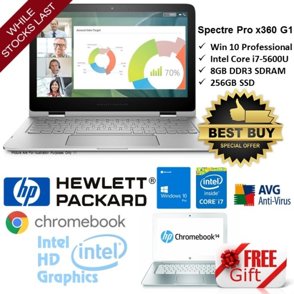[Refurbished] HP Spectre Pro x360 G1 13.3 inch Core i7 5600U 8GB 512GB SSD ultrabook notebook laptop FREE HP ChromeBook - Ready Stock - Limited Offer While Stock Last