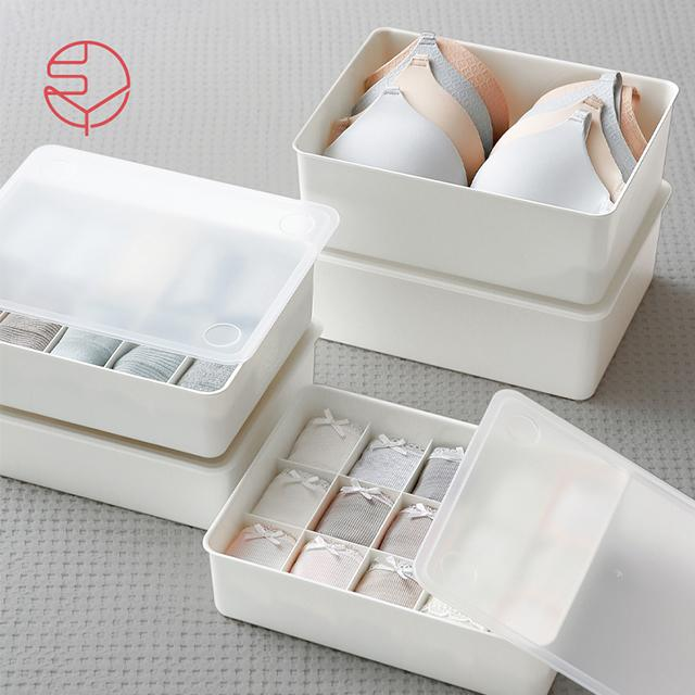 SHIMOYAMA PP Stackable Storage Box For Bra Socks Underwear Household Drawer Wardrobe Organiser
