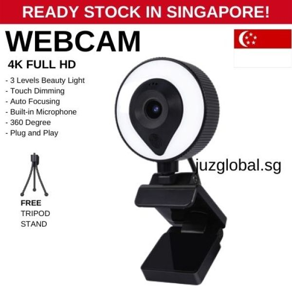Full HD 4k WebCam Ring Light Beauty Web Camera Auto Focus With Microphone
