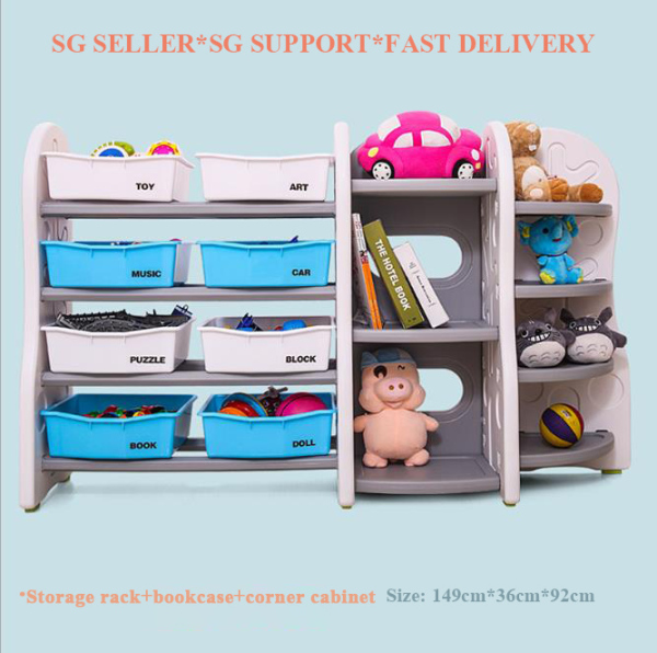 [SG SELLER] Children Multifunctional Toy Storage Rack Cartoon Cabinet Large Shelf Plastic Kindergarten Children Multi-Layer Storage Rack DIY Free Combination Can Put In The Baby Bedroom/Living Room/Kitchen/Shower Room